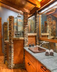stacked stone slate tile hammered copper rough edge counter sonoma forge rain shower