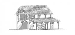 timberframe guest house barn suspended balcony